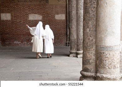 Saint Ambrogio in Milan with nuns