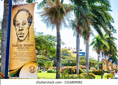 Saint Andrew, Jamaica - February 05 2019: Row of memorial banners of Jamaican National Heroes inside the Emancipation Park in New Kingston