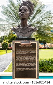 Saint Andrew, Jamaica - February 05 2019: Sculpture/Statue of the only female Jamaican National Hero, Nanny of the Maroons at the Emancipation Park in New Kingston, Saint Andrew, Jamaica