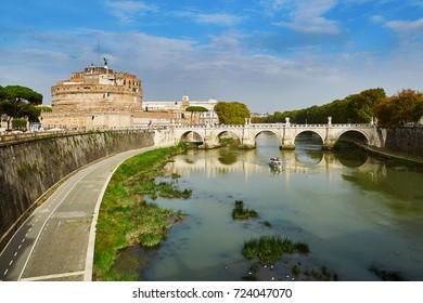 Saint Angel Castle and bridge over the Tiber river in Rome, Lazio, Italy