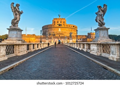 Saint Angel Castle and bridge, Rome. Italy.