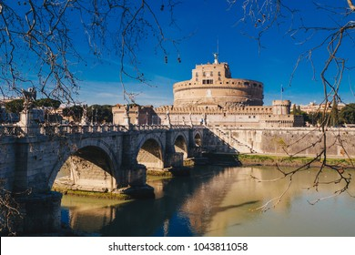 Saint Angelo Castle and Saint Angelo Bridge over Tiber River in Rome, Italy