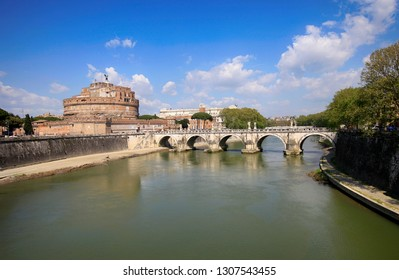 Saint Angelo Castle and Bridge over Tiber River in Rome, Italy