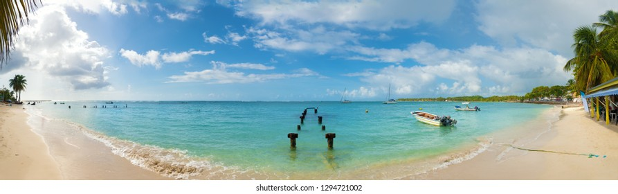 Saint Anne beach, Guadeloupe, French West Indies, panoramic view.