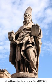 Saint Augustine of Canterbury - statue in front of Palermo Cathedral, Italy