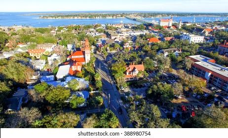Saint Augustine, Florida. Aerial view at dusk.