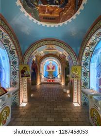 SAINT AUGUSTINE, FLORIDA, USA - DECEMBER 6, 2018: Interior of the St. Photios National Greek Orthodox Shrine (built in 1749) on St George Street