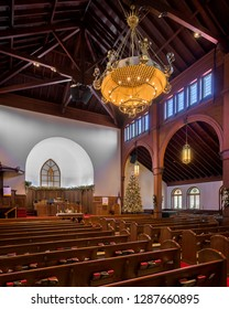 SAINT AUGUSTINE, FLORIDA, USA - DECEMBER 7, 2018: Interior and nave of the Grace United Methodist Church (opened in 1887) at 350 A1A Beach Blvd in St. Augustine, Florida
