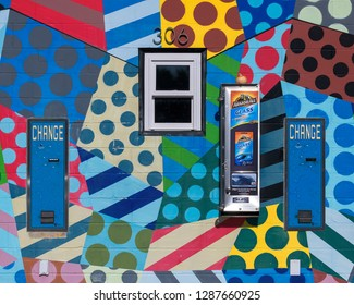 SAINT AUGUSTINE, FLORIDA, USA - DECEMBER 7, 2018: Exterior colorful wall of the Davis Shores Car Wash at 350 A1A Beach Blvd