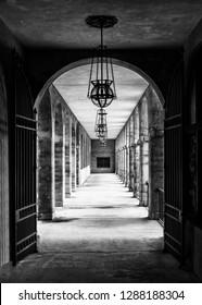 SAINT AUGUSTINE, FLORIDA, USA - DECEMBER 8, 2018: Corridor with columns outside the Lightner Museum, originally the Alcazar Hotel, on King Street in St. Augustine
