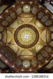 SAINT AUGUSTINE, FLORIDA, USA - DECEMBER 8, 2018: Ceiling in the rotunda of the Ponce de Leon Hotel on King Street on the campus of Flagler College in St. Augustine