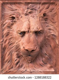 SAINT AUGUSTINE, FLORIDA, USA - DECEMBER 8, 2018: Lion sculpture outside the Ponce de Leon Hotel on King Street on the campus of Flagler College in St. Augustine