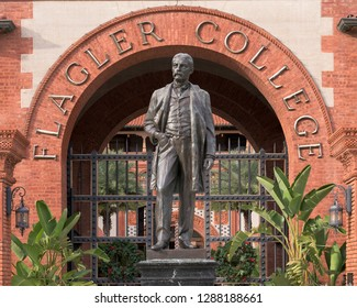 SAINT AUGUSTINE, FLORIDA, USA - DECEMBER 8, 2018: Henry Morrision Flagler statue outside the Ponce de Leon Hotel on King Street on the campus of Flagler College in St. Augustine