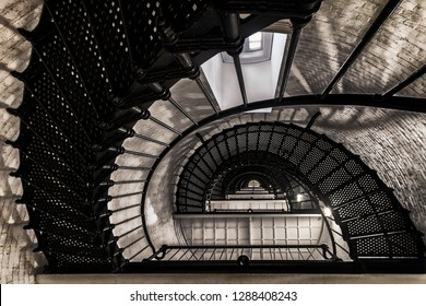 SAINT AUGUSTINE, FLORIDA, USA - DECEMBER 9, 2018: Staircase inside the historic St. Augustine Lighthouse (opened in 1874) on Lighthouse Avenue in St. Augustine
