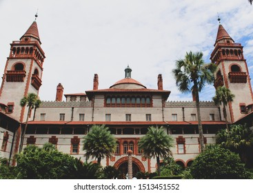Saint Augustine, Florida/USA- July 2019- The front architecture of Flagler College on a cloudy day.