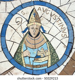 Saint Augustine of Hippo, Mosaic in front of the church on the Mount of Beatitudes