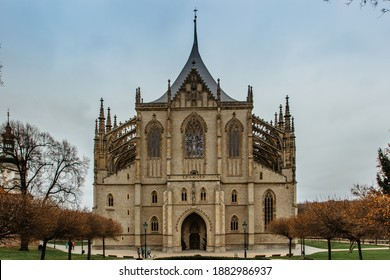 Saint Barbara's Church (Czech: Chram sv. Barbory) in Kutna Hora, Czech republic.Famous Gothic catholic church in central Europe, UNESCO world heritage site.Czech popular tourist attraction. - Shutterstock ID 1882986937