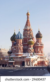 saint basil cathedral, Empty red square, moscow, russia. Pokrovskiy sobor.