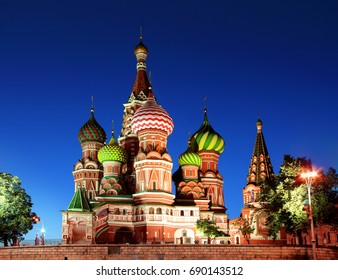 Saint Basil Cathedral in Moscow at night