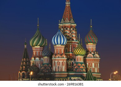 Saint Basil Cathedral in Moscow, Russia on Red Square at night