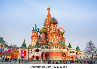 Saint Basil Cathedral on Red Square in Moscow. One of the most popular landmark in Russia. The building is shaped as a flame of a bonfire rising into the sky. Blurred people