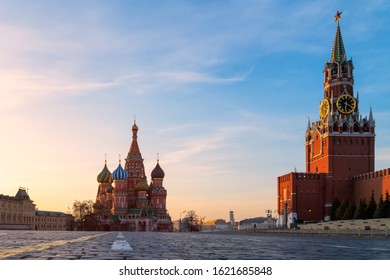 Saint Basil Cathedral at Red Square during sunrise in Moscow,Russia