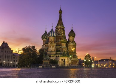Saint Basil's Cathedral in Red Square in winter at sunrise, Moscow, Russia.