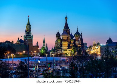 Saint Basil's Cathedral in Red Square and Kremlin from New Zaryadye Park in Moscow, sunset view