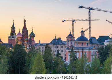 Saint Basil's Cathedral in Red Square from New Zaryadye Park in Moscow, sunset view