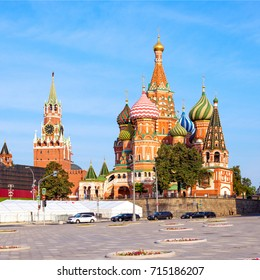 Saint Basil's Cathedral in Red Square and Kremlin tower in Moscow, Russia