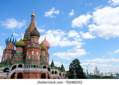 Saint Basil's Cathedral side view with blue clear sky background, church in the Red Square in Moscow, Russia.
