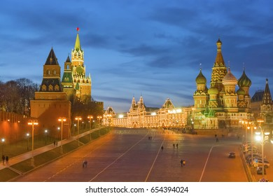 Saint Basil's Cathedral and the Spasskaya Tower of the Kremlin on Red Square in Moscow at night, Russia