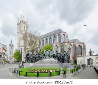 Saint Bavo Cathedral from J Van Eyck Square is a gothic cathedral in Ghent