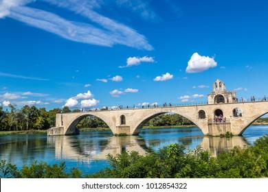 Saint Benezet bridge in Avignon in a beautiful summer day, France