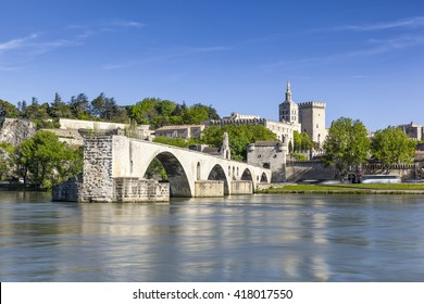 Saint Benezet bridge and Palace of the Popes, Avignon, France