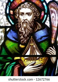 Saint Brendan, stained glass image