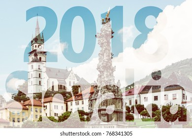 Saint Catherine's church and Plague column in Kremnica city, Slovak republic. Architectural theme. PF 2018.