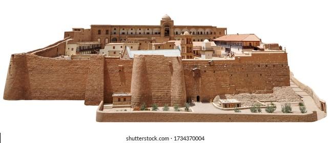 Saint Catherine's Monastery (or Sacred Monastery of the God-Trodden Mount Sinai) isolated on white background.
