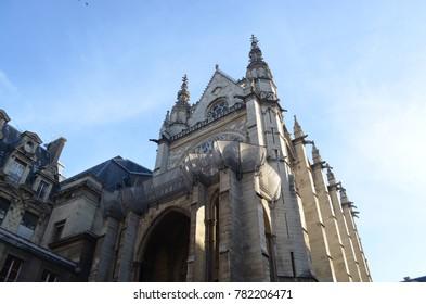 SAINT CHAPELLE, PARIS/FRANCE - DECEMBER 2017: Front view of saint chapelle in Paris/France.