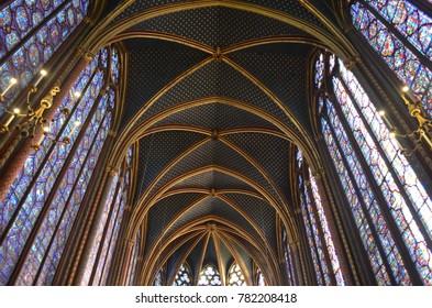 SAINT CHAPELLE, PARIS/FRANCE - DECEMBER 2017: Interior view of simetrical dome of SAINT CHAPELLE in Paris/France.