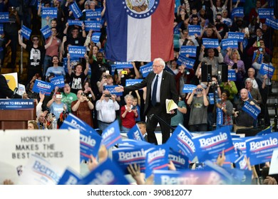 Saint Charles, MO, USA - March 14, 2016: US Senator and Democratic Presidential Candidate Bernie Sanders enters stage during a campaign rally at the Family Arena in Saint Charles, Missouri.