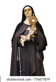 Saint Clare of Assisi statue  isolated on white background