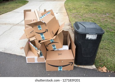 Saint Cloud, Florida / USA - December 13, 2018 - Christmas Waste Recyle Amazon Boxes at curb for garbage pickup
