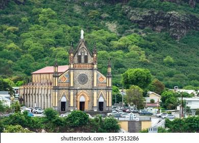 Saint Denis, Reunion Island - January 26th, 2019: The Our Lady of Deliverance (Notre-Dame de la Délivrance) located at Place de la Delivrance in Saint Denis, Reunion.