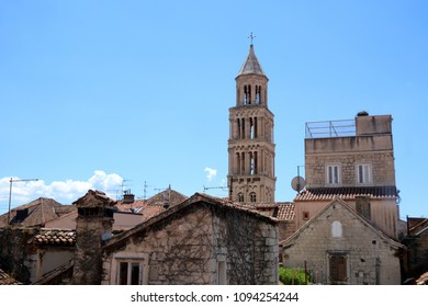 Saint Domnius tower in Split, Croatia surrounded by old stone houses. Split is popular touristic destination and UNESCO World Heritage Site.