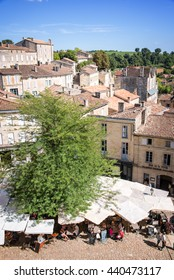SAINT EMILION, FRANCE - AUGUST 19: Aerial of the main square of the famous village, on August 19, 2015, in Saint Emilion