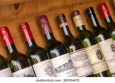 SAINT EMILION, FRANCE - Collection of bottles of wines of Bordeaux, on August 19, 2015 in Saint Emilion, France