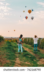 SAINT EMILION, FRANCE - October 14, 2017: Montgolfiades Hot air baloon special event in Saint Emilion, wine travel destination vacation travel luxury europe famous tourist attraction,Bordeaux, France