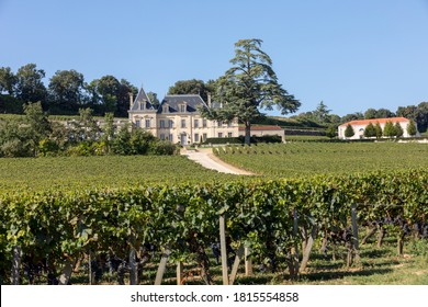 Saint Emilion, France - September 11, 2018: Vineyard of Chateau Fonplegade - name was derived from the historic 13th century stone fountain that graces the estate's vineyard. St Emilion, France