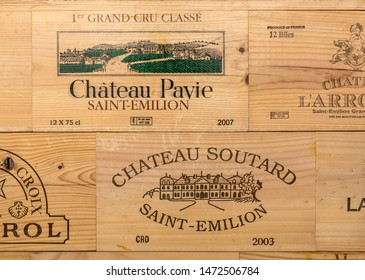 Saint Emilion, France - September 8, 2018: Display of wooden wine cases in Saint-Emilion, Gironde, France.  St Emilion is one of the principal red wine areas of Bordeaux